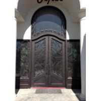 Quality Arched wrought iron french double front entry doors iron exterior doors wholesale