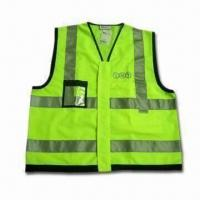Quality 120g Polyester Safety Vest with Yellow Fluorescense, 3m Reflective Tape and TNT Logo wholesale