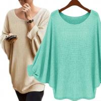 Quality Solid Color Batwing Sleeve Jumper High Low Pullover Sweater Casual Clothes wholesale