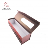 China Pink PVC Window Cardboard Packaging Boxes For Wine Packaging on sale