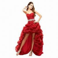 Quality Red Sexy Organza Beaded Evening Dress wholesale