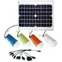 China Solar power lighting kits  10W solar panel with 4pcs LED bulbs lithium battery solar lamps for home on sale