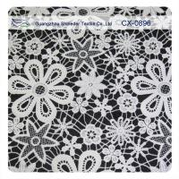 China Garment Crochet Embroidered Lace Fabric , Eco - Friendly Dyeing on sale