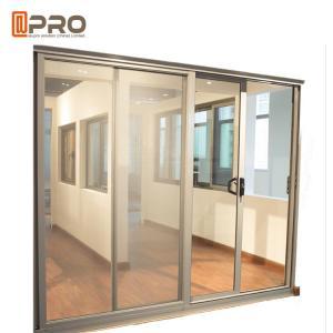 China Aluminum Tempered Glass Entry Sliding Door Commercial Customized Size aluminium sliding door rollers sliding mesh doors on sale