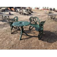 China Outside Wrought Iron Table And Chairs Antique Green Butterfly Style on sale
