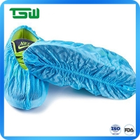 China Blue 60gsm Waterproof Anti Skid Disposable Shoe Covers on sale