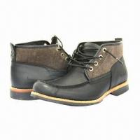 Quality Men's Fashionable Leisure/Leather Shoes with Stacked Heels, Black, Breathable wholesale