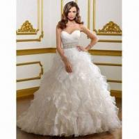 Quality Sweetheart Organza Beaded Ball Gown/Bridal Wedding Dress wholesale