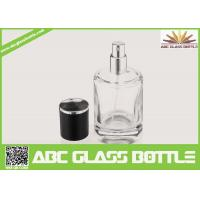 Cheap High Quality Custom Glass Perfume Bottle 50ml With Black Cap Clear Color for sale