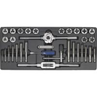 Quality Industrial / Home Use Tool Tray with Tap and Die Set 33pcs Fully Ground , Rolling Process wholesale