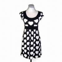 Quality Ladies knitting printed dress, made of 100% cotton wholesale