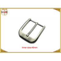 Quality Customized Silver Plated Zinc Alloy Metal Pin Belt Buckle With Emboss Logo wholesale