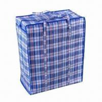 China PP zipper shopping bag, 135g woven PP webbing handle, recyclable, eco-friendly material on sale