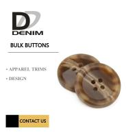 Quality Brown 4 Holes Plastic Buttons For Suits & Coats Horn Effect Finish wholesale