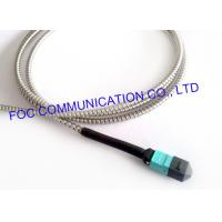 Cheap MPO Armored Multimode Fiber Optic Cable Cord OM3 MM 50/125um 12 Core for sale