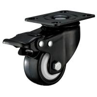 Quality Small Furniture PU Caster Wheel With Swivel Plate Total Locking Black Bracket wholesale