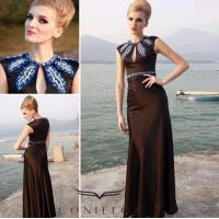 China modest black dinner gowns,  embroidered pattern evening dinner gowns on sale