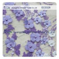 Quality Pearl Metallic Embroidery Lace Fabric  Light Purple flower for garment wholesale