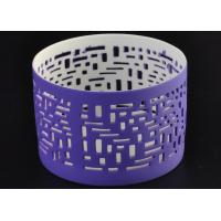 Quality Purple Ceramic Votive Candle Holders Electroplating Golden Inside wholesale