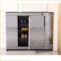 China Melamine MDF Diamond Cut 100cm Mirrored Shoe Cabinet on sale