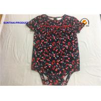 Quality Short Sleeve Romper Crew Neck Floral Reactive AOP Baby Gril Talking Bodysuits wholesale