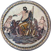 Quality Neptune God Of Sea Round Mosaic Art Patterns Handmade Mosaic Craft Tiles 100 X 100cm wholesale