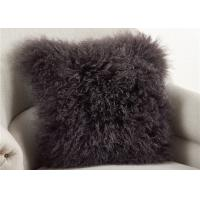 Quality Dark Gray Fuzzy Throw Pillows , Soft Curly Hair Wool Decorative Bed Pillows  wholesale