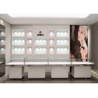 Quality Crystal Tempered Glass Top Showroom Display Cases Decorated With Pole Lights wholesale