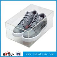 Cheap best selling good quality high clear acrylic shoe display box,modern design lucid shoe holder storage clear acrylic shoe for sale
