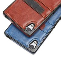 Quality Brown Classic Sony Xperia Leather Case Slim Card Holder With Wallet Function wholesale
