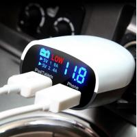 Quality 12V 220V Double USB Car Charger Inverter Current Voltage LED Display Automatic Alarm Adapter 3.4A wholesale