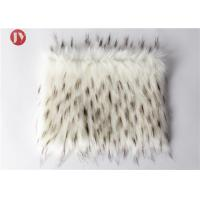 Quality White Plush Faux Fur Fabric With Black Tip Collar Tissavel Boots Toys 1100 Gsm wholesale