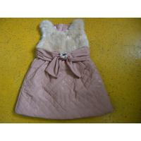 Quality Big Bow Waist 3 Year Little Girls Winter Dresses Sleeveless With Faux Leather Mini Skirt wholesale