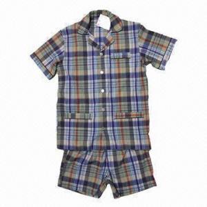 Quality Men's Cotton Pajama/Short-sleeved Top/Boxer Shorts, Checks Pattern/Colorful Design/Cotton Seersucker wholesale