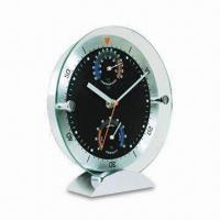 China Novelty Desk Clock with Weather Station, Hygrometer and Thermometer, Different Colors are Available on sale