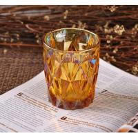 Quality Colorful Glass Candle Jar Decorative Glassware With Color Ion Plating Finish wholesale