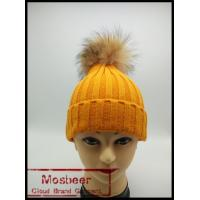 Buy cheap New Product Colorful Knit Hats Wholesale Fancy Raccoon Fur Ball Women Floppy Hat from wholesalers