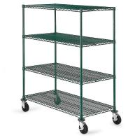 Quality Green Epoxy Metal Commercial Wire Shelving 4 - Tier Mobile Adjustable wholesale