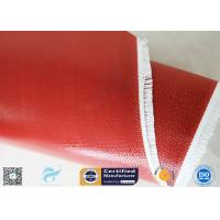 Quality 510G Red Color Satin Weave Silicone Coated Fiberglass Fabric 260℃ 0.45mm wholesale