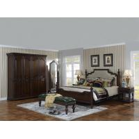 Cheap Sandalwood Bedroom set Classic style BT-2902 High fabric Upholstered headboard Wooden king size bed with Cloth Wardrobe for sale