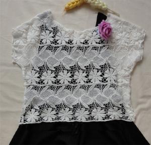 Quality crochet white lace blouse and skirt mesh shott sleeveless lace vest wholesale