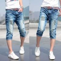 Quality 2018 fashion mens double waistband cropped denim jeans with skinny or fashion design wholesale