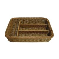 Quality Eco-Friendly Divided Rattan Cutlery Basket In Dark Brown , Not Fade wholesale