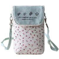 Quality Custom Cute fresh floral cotton mini crossbody cell phone purse bag for women wholesale