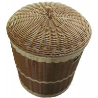 Quality Plastic Round Wicker Laundry Basket With Lid , Divided Laundry Basket wholesale