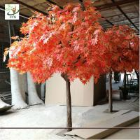 China UVG romantic artificial red maple tree in silk leaves and wood trunk for indoor home decorative GRE070 on sale