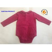 Cheap Fashion Peter Pan Collar Baby Bodysuit Raspberry Color Washable For Baby Girl for sale