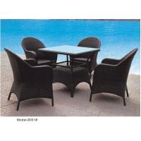 China 5-piece synthetic rattan wicker outdoor glass top dining table with 4 armchairs-8001 on sale