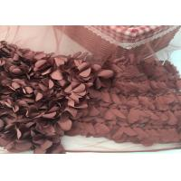 Quality 100% Polyester Soft Lace Fabric 3d Flower / Tulle Lace Fabric For Wedding Dress wholesale