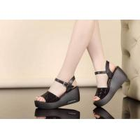 China Women Studded Platform Open Toe Buckle Sandal on sale